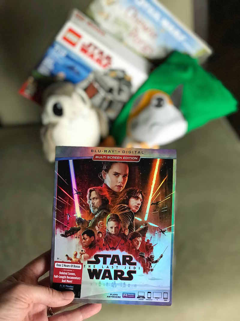 Add Star Wars the last jedi dvd to Porg inspired Star Wars Easter Basket