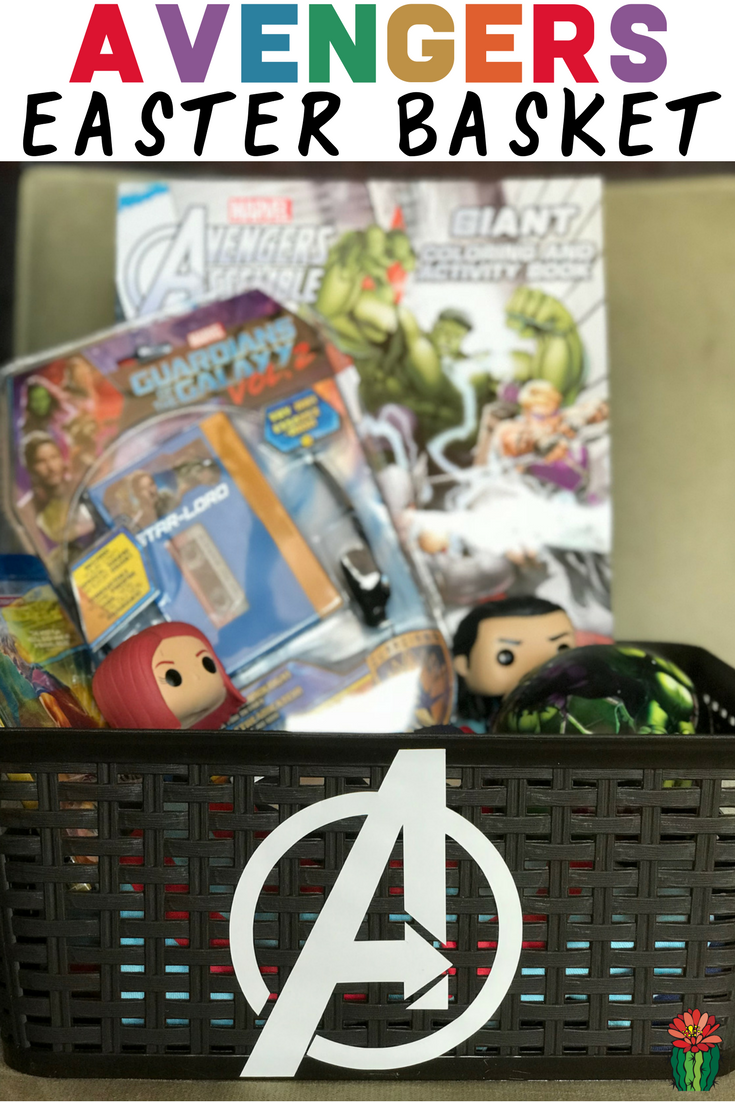 How to make an easy DIY Avengers Easter Basket filled with items featuring your kid's favorite characters from Marvel movies like Thor, Captain America, Iron Man and Hulk.