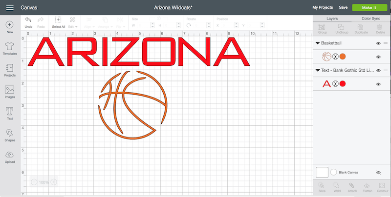 Arizona Basketball shirt design in Cricut Design Space