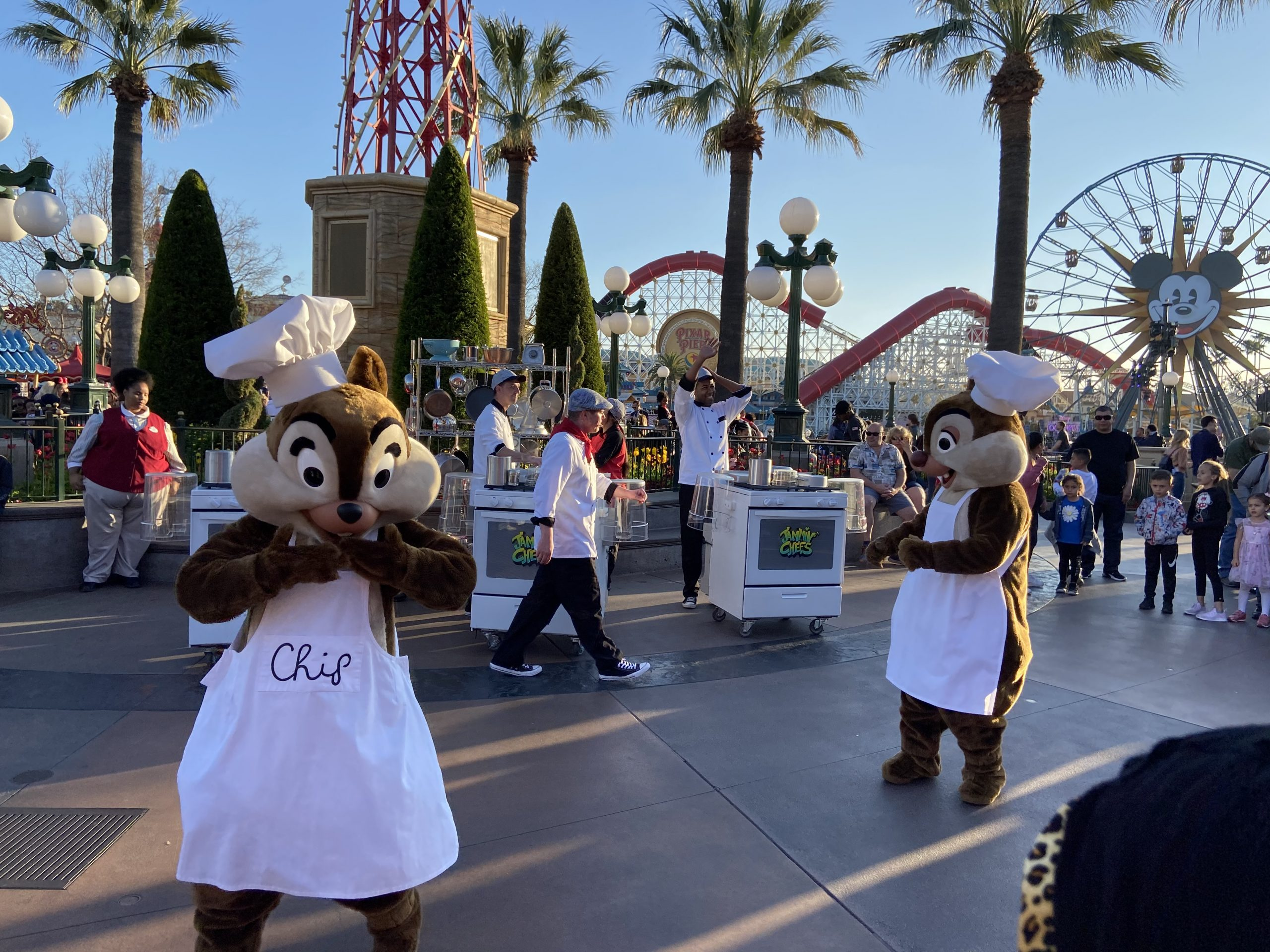 Chip and Dale with Jammin' Chefs at Disneyland Food and Wine Festival