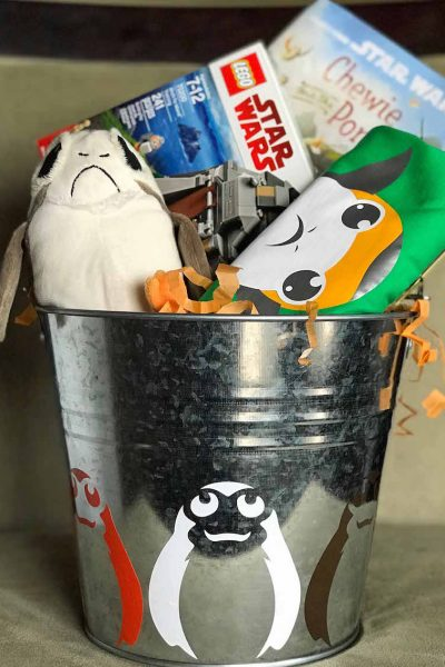 Do you have a porg fan at home? Check out this easy DIY Star Wars Easter basket with fun ideas for boys and girls including awesome porg goodies to include in this unique basket idea.