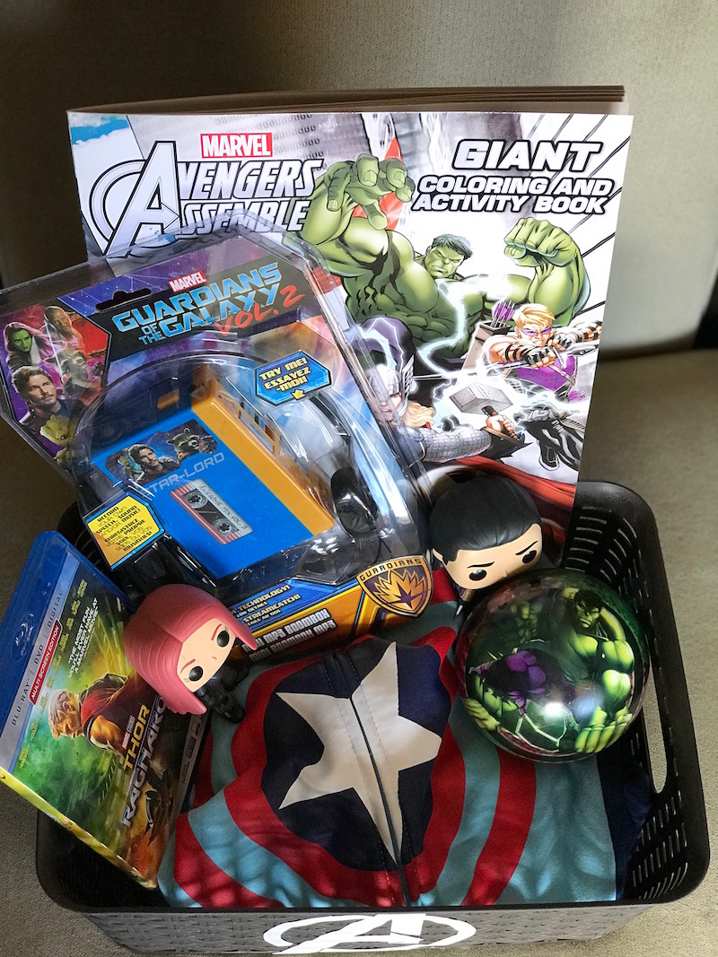 Fill with awesome avengers merchandise - How to make an avengers Easter Basket