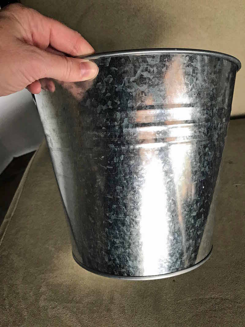 Galvanized metal bucket for porg star wars easter basket