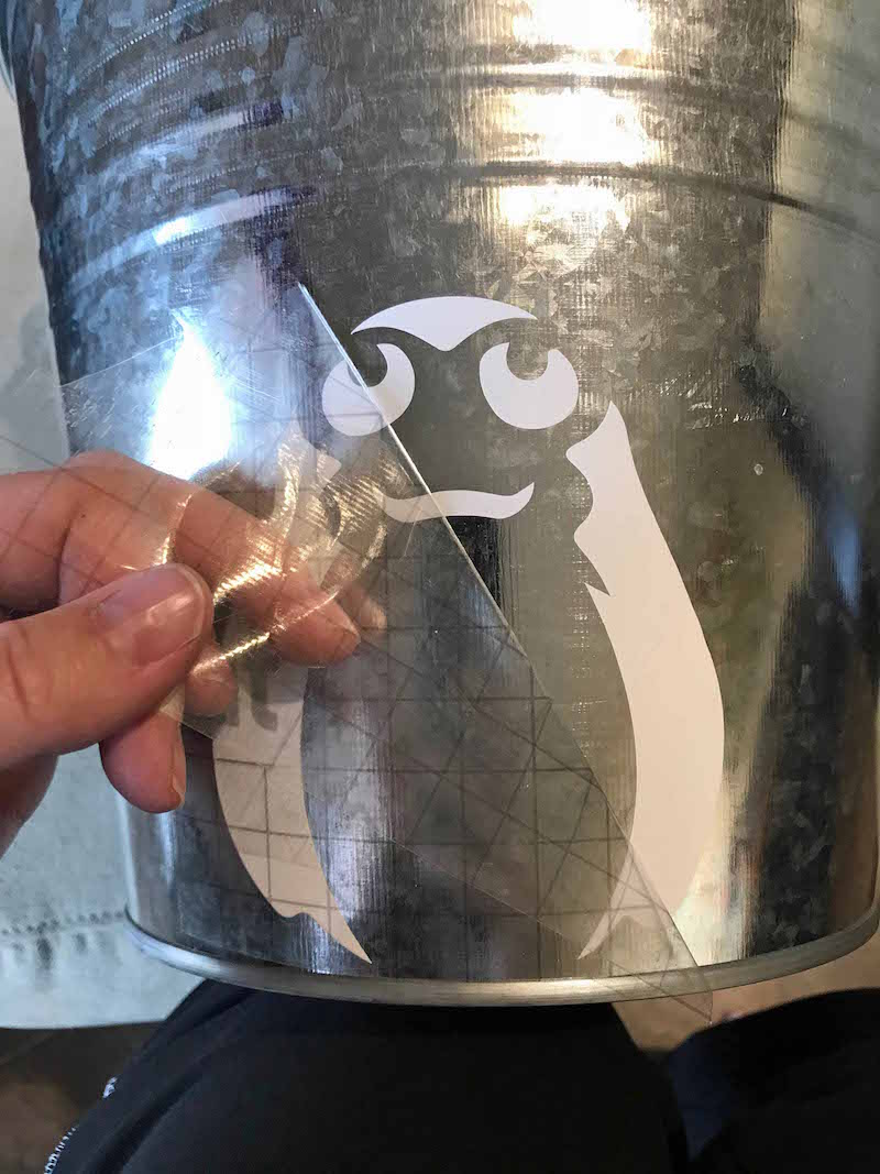 Use vinyl transfer tape when adding porg design to star wars easter basket