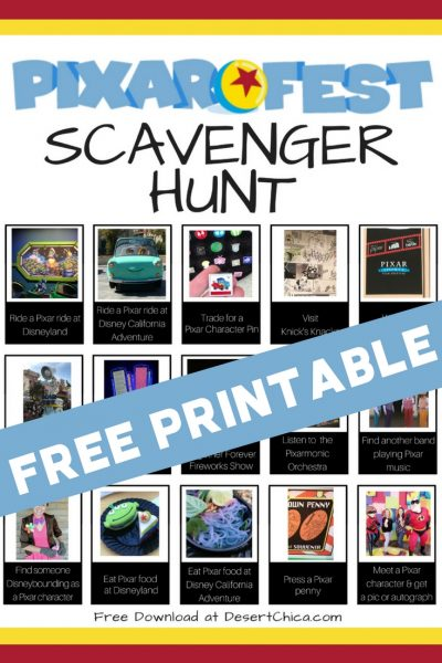 FREE PRINTABLE Pixar Fest Scavenger Hunt at Disneyland