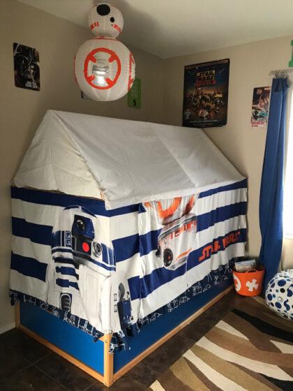 Kura bed hack into Star Wars bed tent