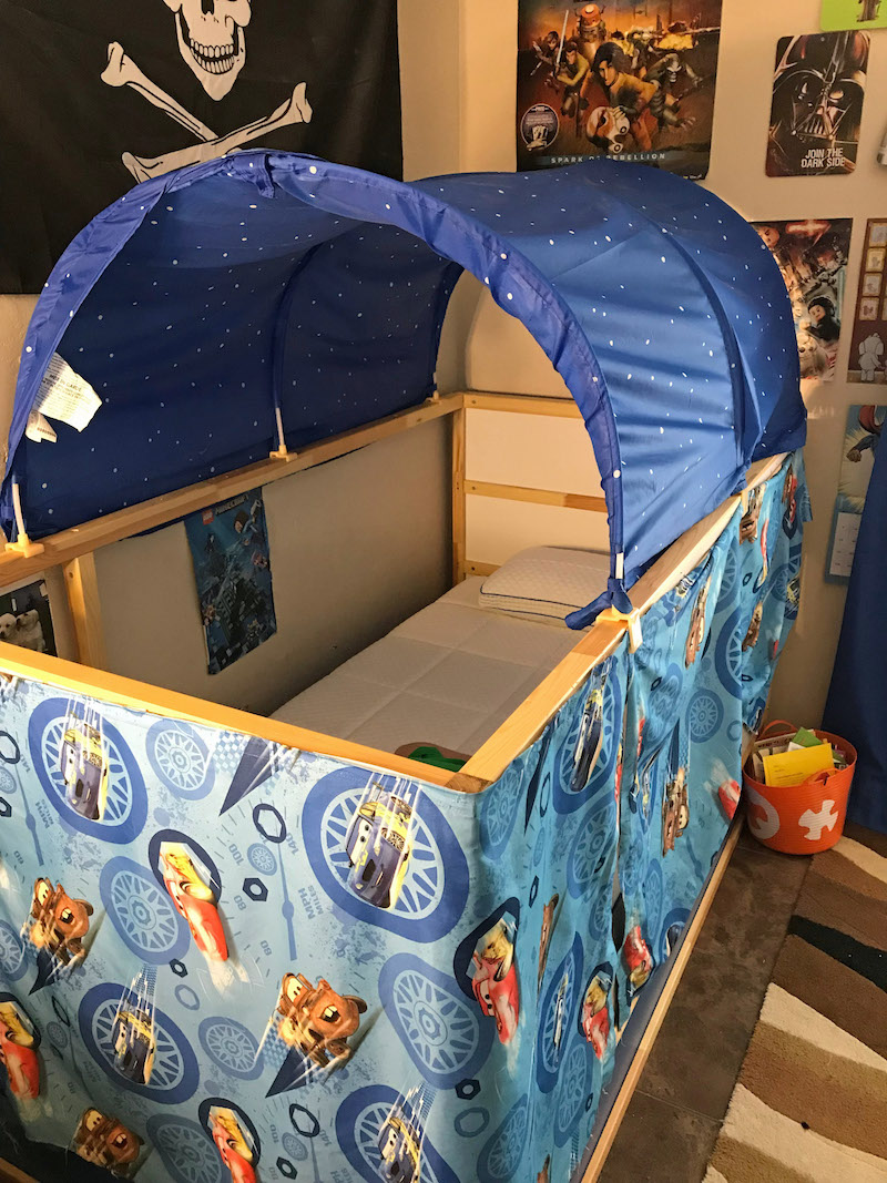 Little Boy room with ikea bed hack tent and curtains & Ikea Kura Bed Hack | DIY Bed Tent | Desert Chica