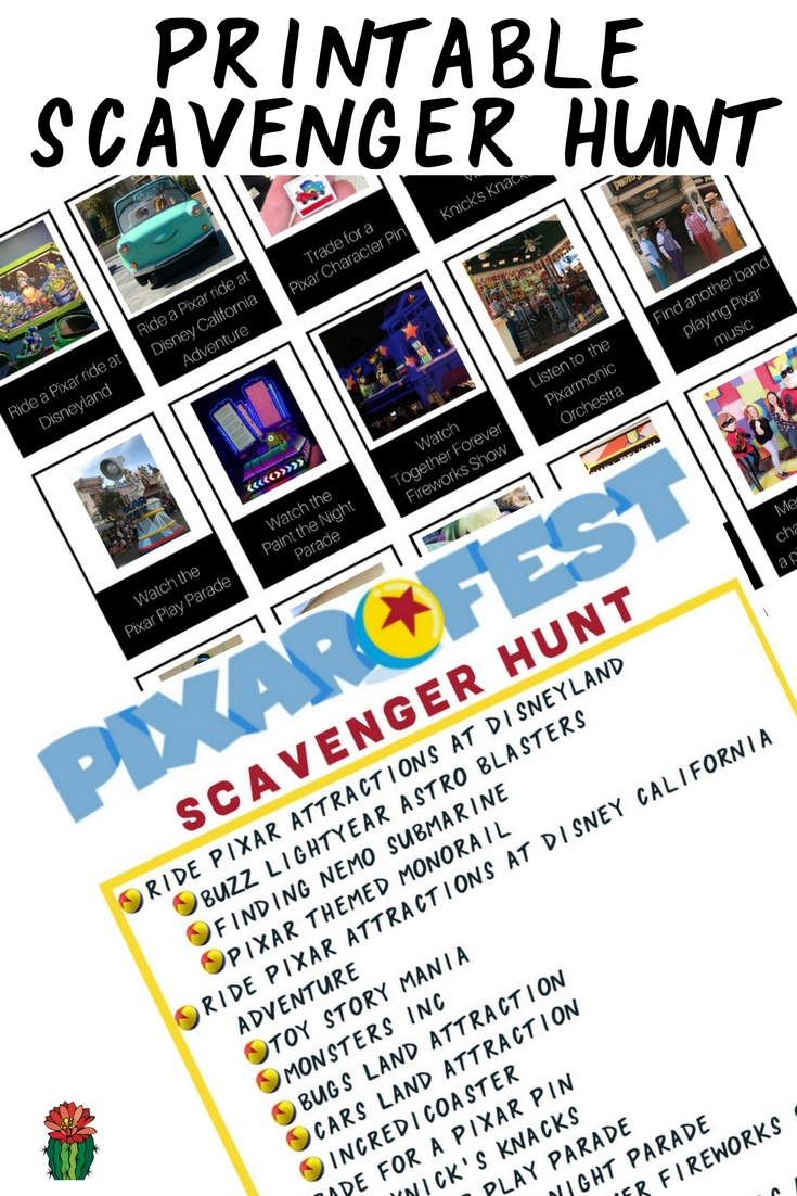 photo relating to You're Going to Disneyland Printable known as Pixar Fest Scavenger Hunt at Disneyland Desert Chica