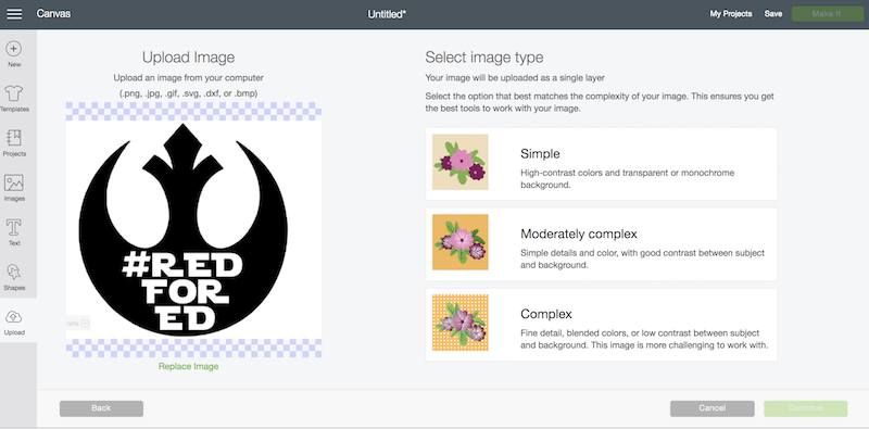 Upload Image to Design Space in png jpg gif or bmp format