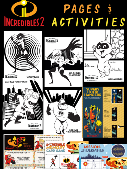 Disney and Pixar just released a set of free printable Incredibles coloring pages to celebrate the release of Incredibles 2. They include pictures of violet, baby Jack Jack, the mom - Elastigirl, Mr. Incredible, and Dash. You can also print a few activities for your kids to do as well.