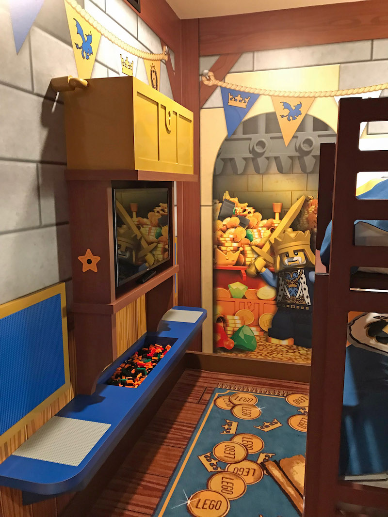 Kids area includes their own tv with kid friendly channels and LEGO bricks at the LEGOLAND Castle Hotel