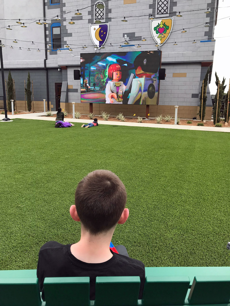 LEGO Movies run all day and evening in the Courtyard at the LEGOLAND Castle Hotel