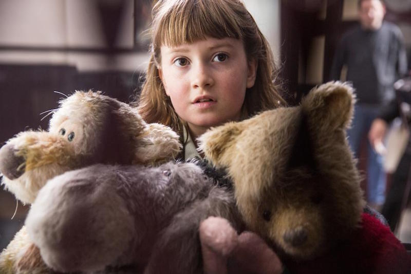 Bronte Carmichael as Madeline in the new Christopher Robin Movie with Tigger, Pooh, Piglet and Eeyore