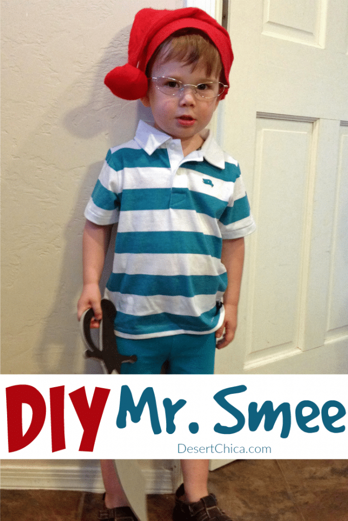 little kid dressed up in a Mr. Smee from Peter Pan costume