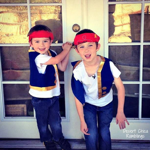 Easy DIY Jake and the Neverland Pirate Costumes included in the Disney Junior Costume Category for the Ultimate list of Halloween Costume Ideas