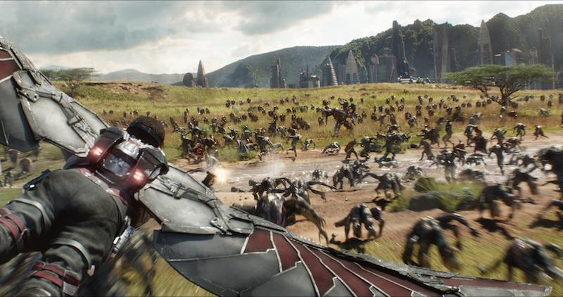 AVENGERS: INFINITY WAR..Falcon (Anthony Mackie) flying over Wakanda battlefield