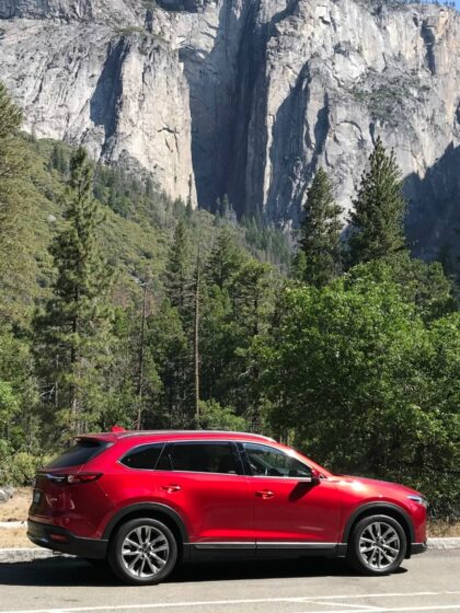 Mazda CX9 in Yosemite Valley on a Yosemite Road Trip