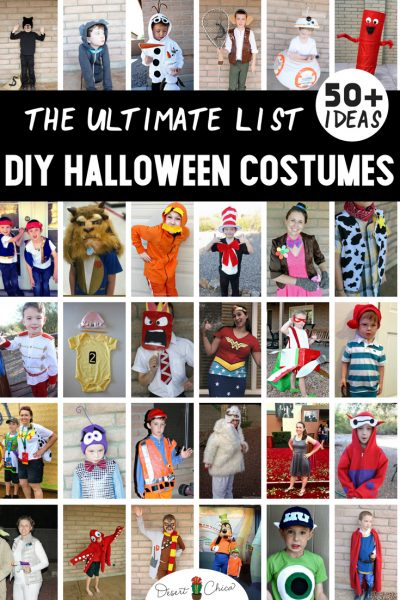 There are over 50 DIY Halloween costumes including homemade costumes for kids, for families, for boys, for toddlers, for babies, preteens, siblings, for groups and friends. These ideas are cute, clever, creative, quick and fairly easy making many of them perfect for last minute parties.