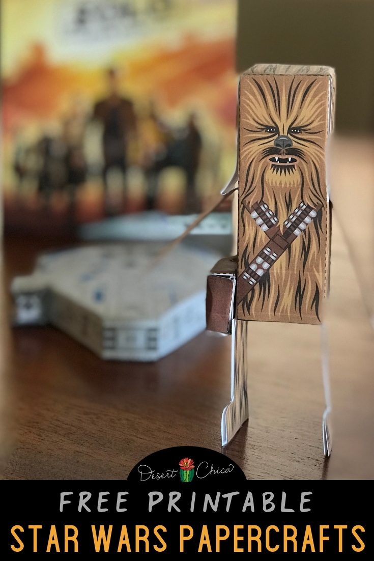 Free printable Star Wars papercraft template. Print these paper models of Chewbacca and the Millennium Falcon for your kids to make. These paper crafts are also a fun DIY party idea.