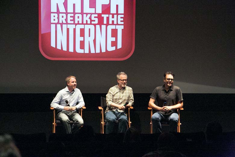 Producer Clark Spencer, Director Phil Johnston and Director Rich Moore as seen at the Long Lead Press Day for RALPH BREAKS THE INTERNET at Walt Disney Animation Studios on July 31, 2018. Photo by Alex Kang/Disney. ©2018 Disney. All Rights Reserved.