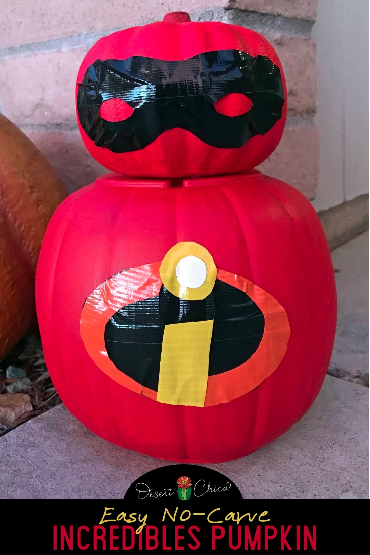 Skip carving with this easy Incredibles pumpkin. Use the template, paint and duct tape to add the details to a real pumpkin or a craft one like we did. Jack Jack, Violet, and Edna would approve. Disney | Halloween | Stencil | Incredibles 2