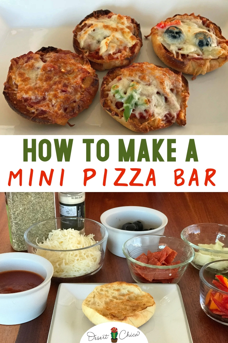 A make your own mini pizza bar is a fun party appetizer for adults or meal option for kids. Keep it easy by using an English muffin as the crust, then let everyone DIY their own mini pizza with a toppings bar. Click through to read about this homemade mini pizza recipe option. | Mini Pizza | English Muffin Pizzas | DIY Toppings Bar | Easy Recipe | #pizza #partyfood