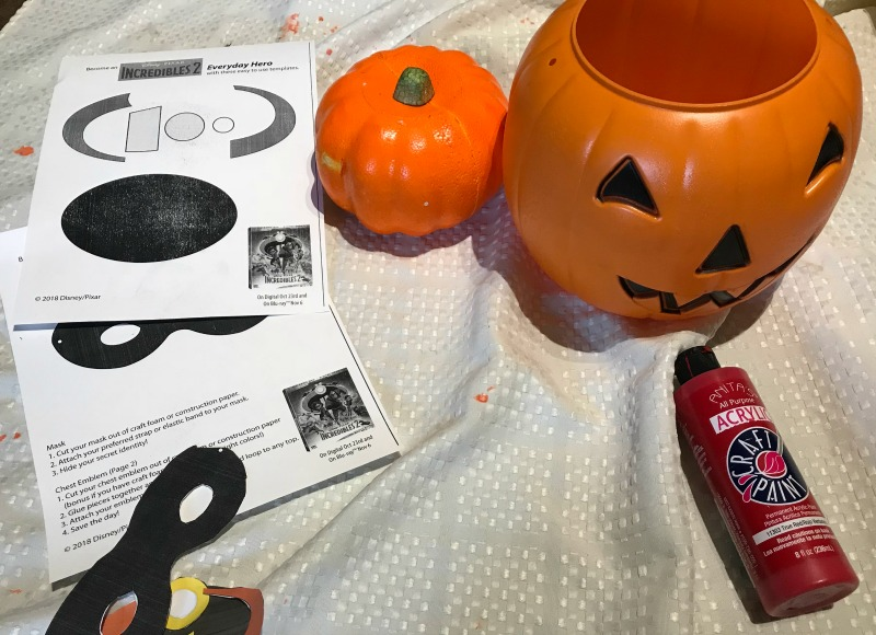 Materials for Easy no carve Incredibles Pumpkin