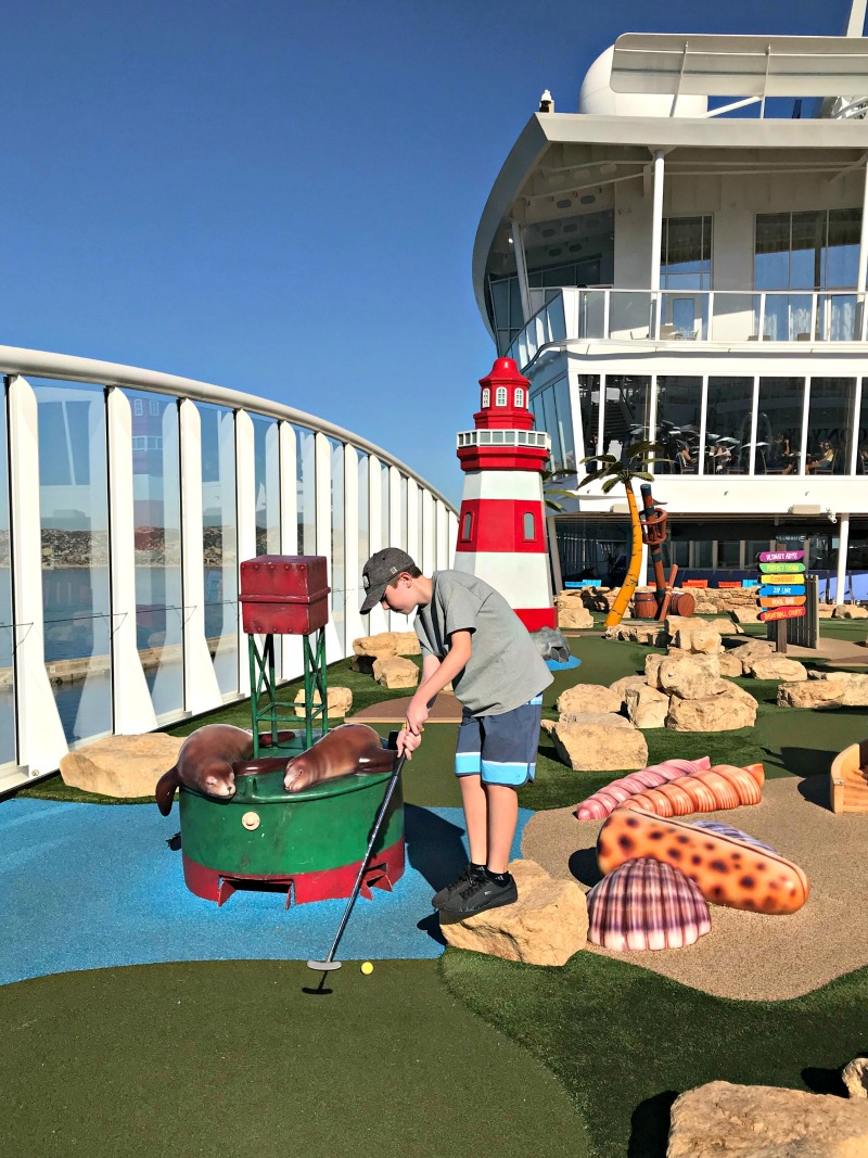 Minigolf on Royal Caribbean Symphony of the Seas cruise ship. It is one of the amazing tween friendly activities aboard the largest cruise ship in the world.