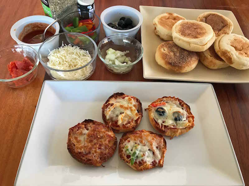 Set up an english muffin pizza bar