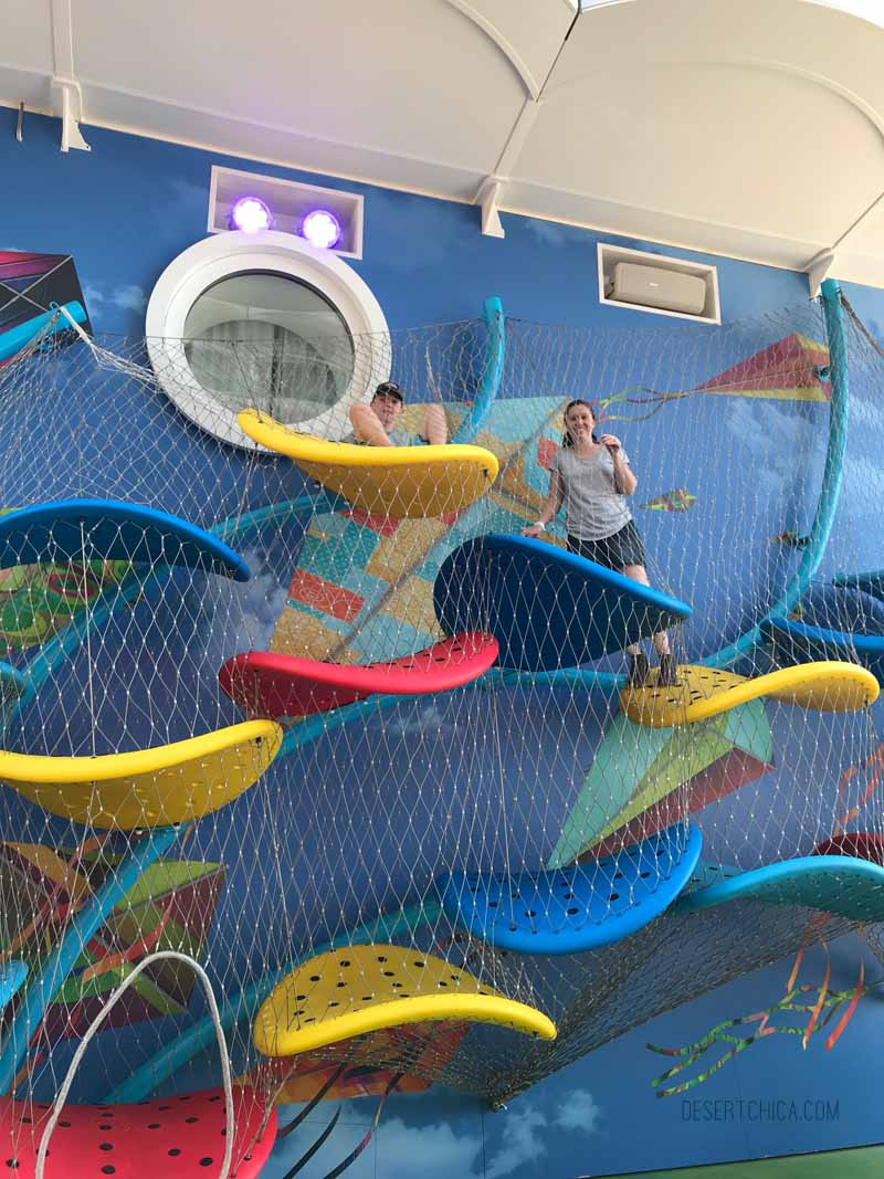 Climbing Fun on Royal Caribbean Symphony of the Seas cruise ship. It is one of the amazing tween friendly activities aboard the largest cruise ship in the world.