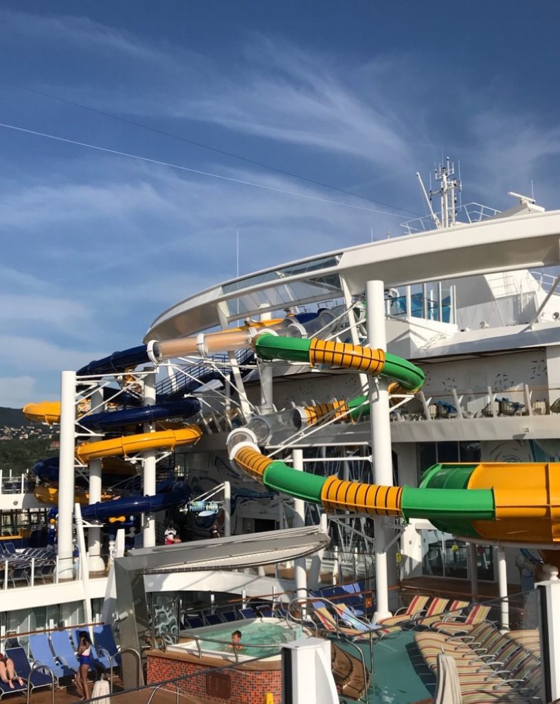Water Slides on Royal Caribbean Symphony of the Seas cruise ship. It is one of the amazing tween friendly activities aboard the largest cruise ship in the world.