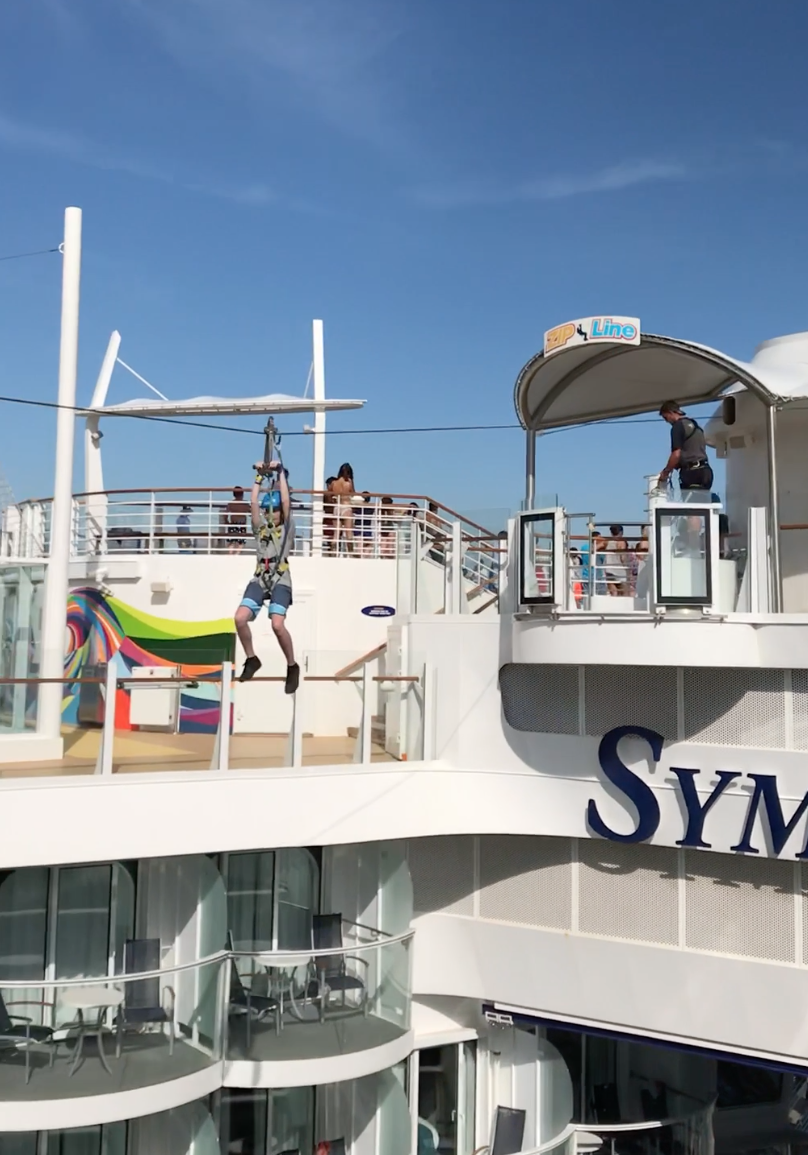 Zipling on Symphony of the Seas by Royal Caribbean is one of the amazing tween friendly activities aboard the largest cruise ship in the world