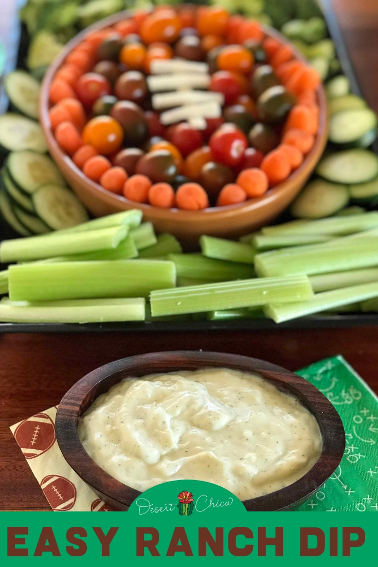 Creamy homemade ranch dip is the best easy 3-ingredient recipe for a party. Pair it with a themed veggie tray, like a football made from vegetables to add a bit of fun. Click through to learn how to make this DIY recipe that utilizes hidden valley seasoning with mayo and buttermilk or simplify it to a 2-ingredient recipe with just sour cream. Dips and Appetizers | Easy Appetizers | Ranch Dip Recipe #ranchdressing #partyfood