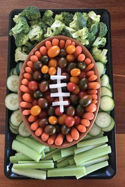 PREP VEGGIES FOR EASY FOOTBALL TRAY stick to green and orange/red veggies for best results