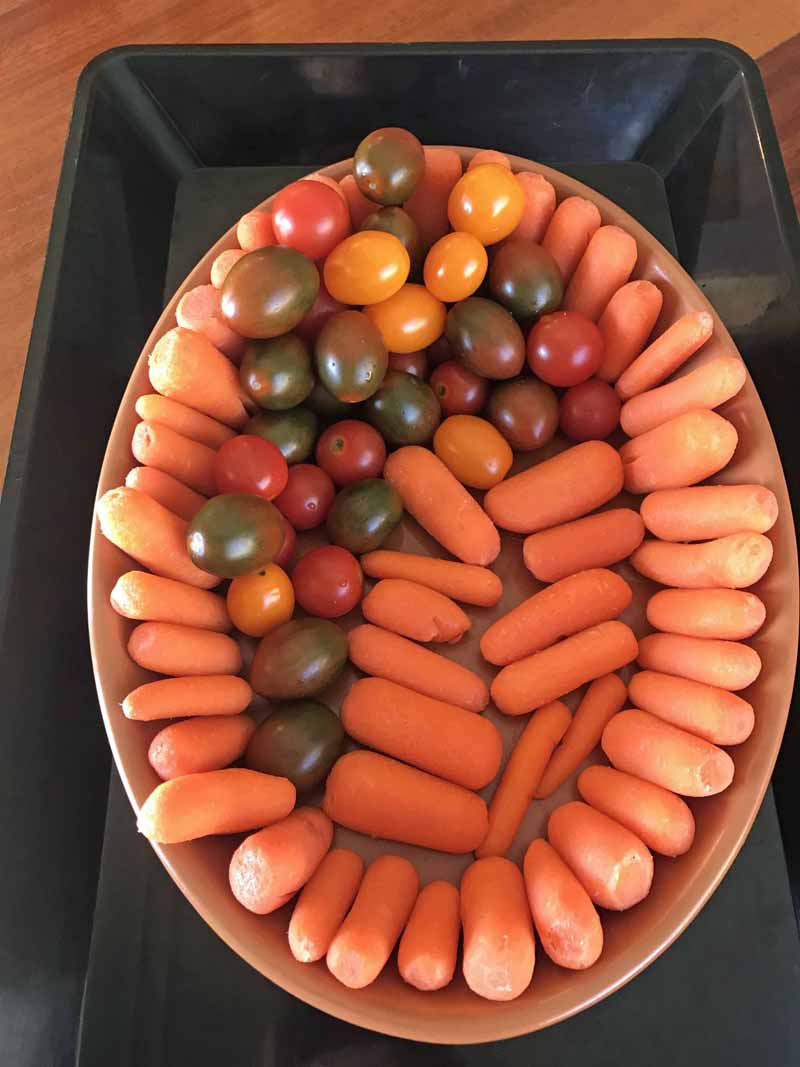 For the football veggie tray it helps if you have an oval dish to help keep the shape.