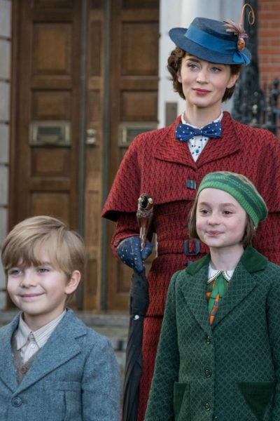 Emily Blunt with Pixie Davies and Joel Dawson in Mary Poppins Returns