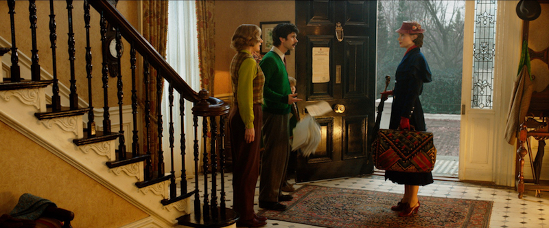 Jane and Michael Banks greet Mary Poppins when she arrives in Mary Poppins Returns