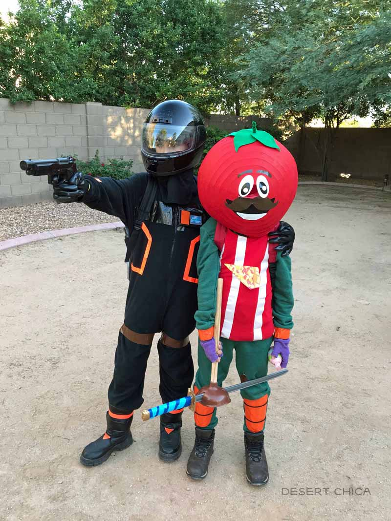 DIY Tomato head and Dark Voyager Fortnite Halloween Costume or Fortnite Cosplays