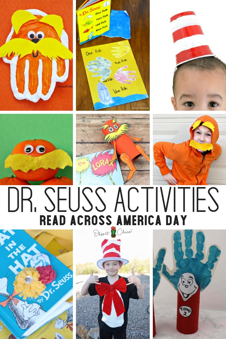 Ready to celebrate Read Across America Month, Week or Day in 2019? No matter how long your love of reading celebration is there are plenty of fun ideas on this list including snacks, crafts, and activities good for preschool and kindergarten through middle school. Some activities would be fun literacy projects or centers at school. Naturally my favorite are special Dr. Seuss costumes or other storybook themed dress up outfits! Dr. Seuss Week | Dr. Seuss Activities | Dr. Seuss Day | Dr. Seuss Crafts | Read Across America Week | Read Across America Ideas