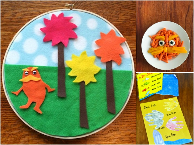 Dr. Seuss Activities for Read Across America week including Lorax felt story Lorax veggie plate and one fish handprint craft
