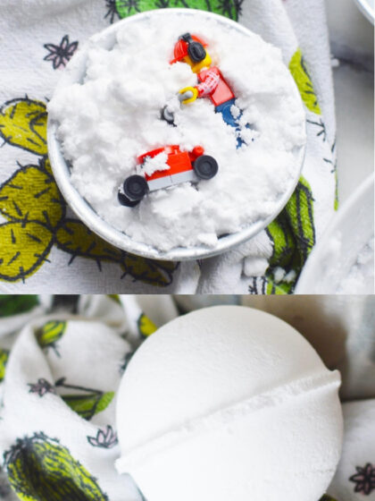 Learn how to make homemade bath fizzies for kids with a few ingredients and molds. This DIY bath bomb recipe includes hidden lego minifigures. They are an awesome craft activity for a LEGO themed party or as a fun birthday party favor to give to guests. Bath Fizzies DIY Kids   Fizzy Bath Boms
