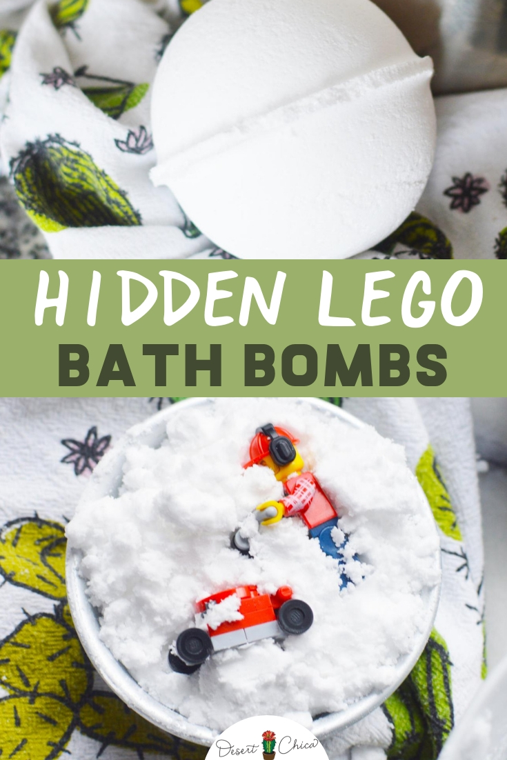 Learn how to make homemade bath fizzies for kids with a few ingredients and molds. This DIY bath bomb recipe includes hidden lego minifigures. They are an awesome craft activity for a LEGO themed party or as a fun birthday party favor to give to guests. Bath Fizzies DIY Kids | Fizzy Bath Boms