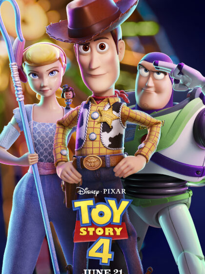 Toy Story 4 Poster featuring Bo Peep, Woody and Buzz Lightyear