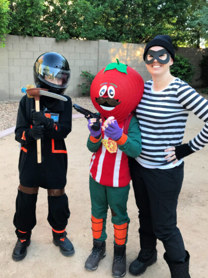 Fortnite Costume Ideas including tomato head, dark voyager and rapscallion