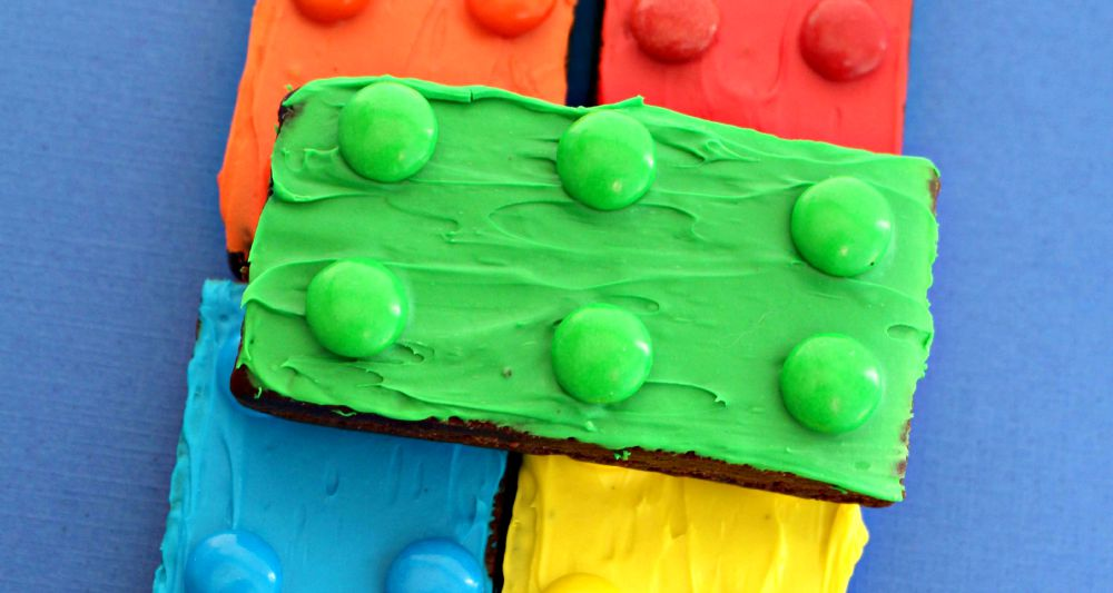 Brownies decorated as green, yellow, blue, red and orange LEGO blocks
