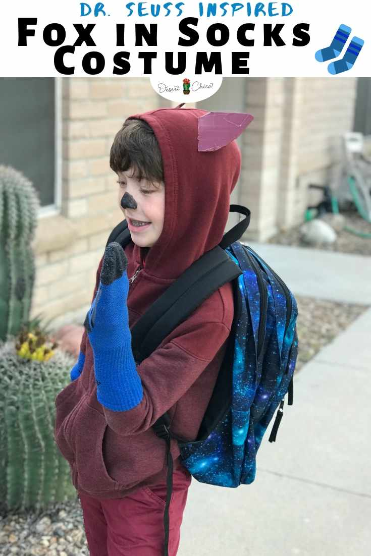 boy dressed as fox in socks dr. seuss character