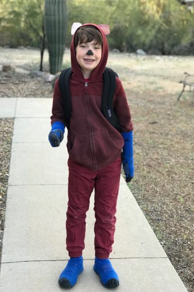 kid wearing a homemade fox in socks costume
