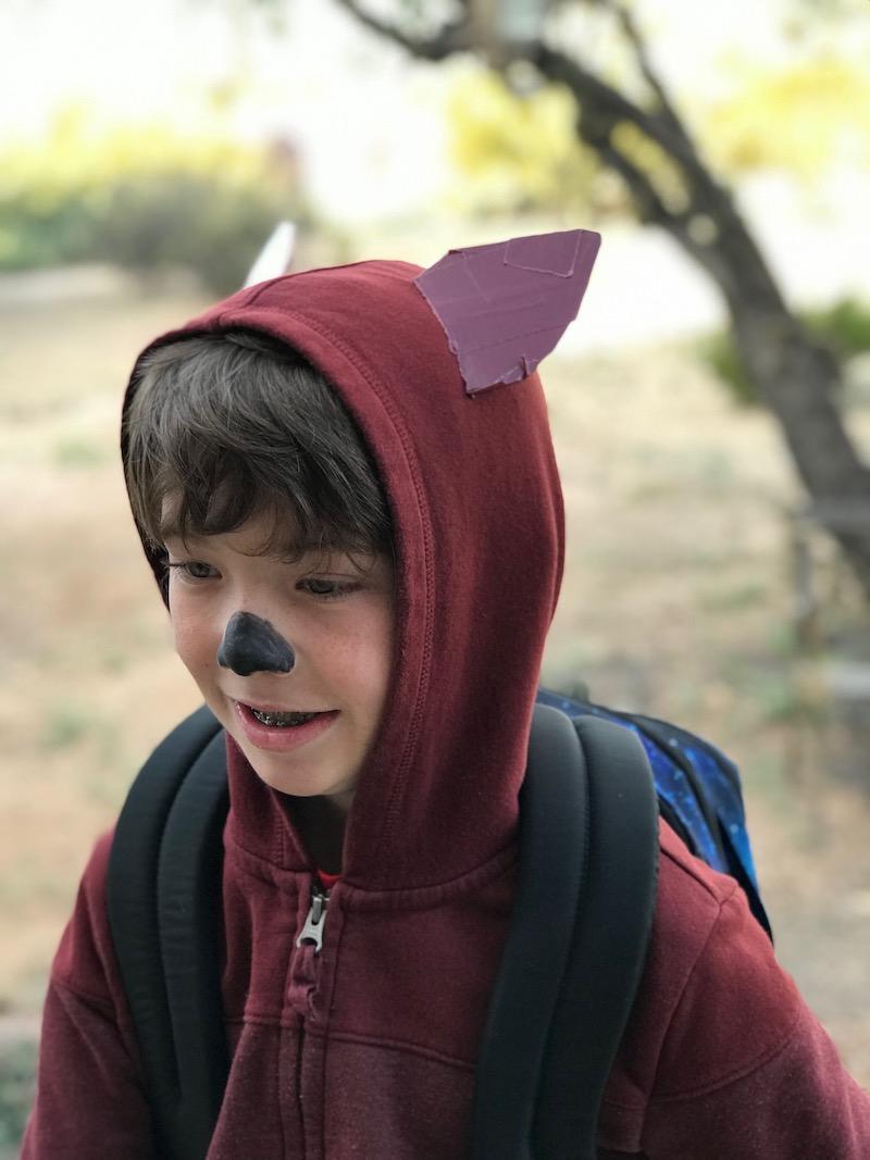 Kid wearing a DIY fox costume hoodie