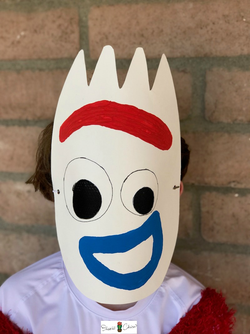 Child wearing a Forky Mask