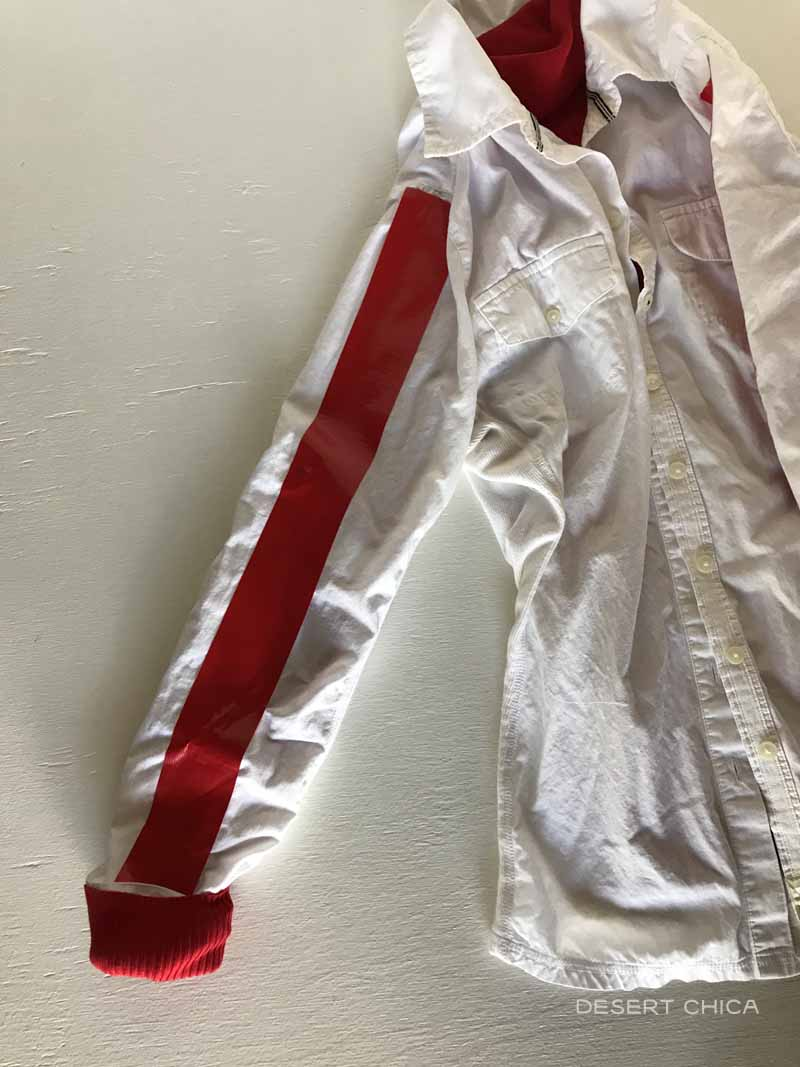 White shirt with red stripe